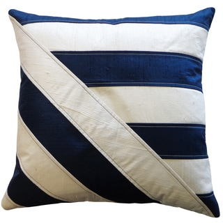 Lindsay Blue/ White Striped Silk Accent PIllow