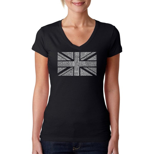 Los Angeles Pop Art Women's 'Union Jack' Black V-neck T-shirt