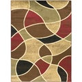Green Contemporary Abstract Design Area Rug (7'10 x 9'10)