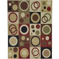 Green Contemporary Abstract Design Area Rug (3'11 x 5'3 )