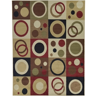 Green Contemporary Abstract Design Area Rug (5'3 x 7')