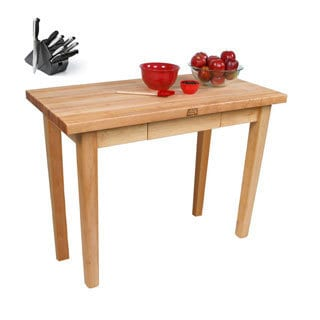John Boos C02-D Country Maple Butcher Block 48x24x35 Work Table with Henckels 13 Piece Knife Block Set