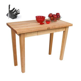 John Boos C02 Country Maple Butcher Block 48x24x35 Work Table with Cutting Board