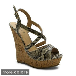 Betani Women's 'Iveth-1' Peep-toe Cork Wedge Sandals