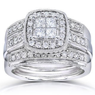 Annello 14k White Gold 7/8ct TDW Princess Quad Diamond 3-ring Miligrain Bridal Set (H-I, I1-I2)