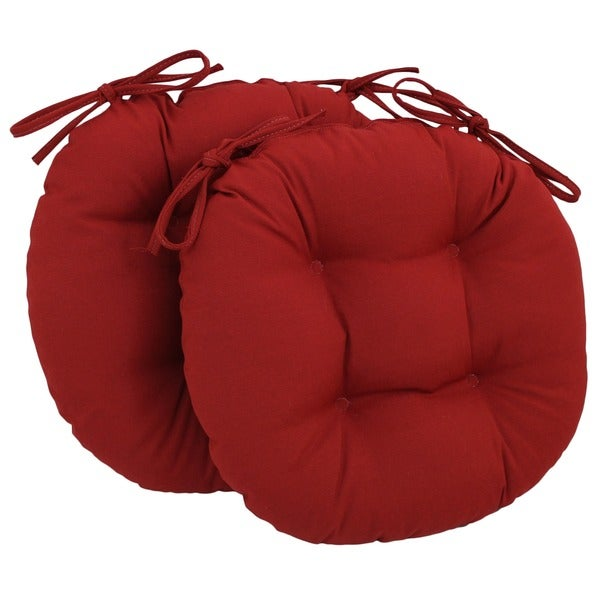 Blazing Needles 16x16 inch Round Twill Chair Cushions Set