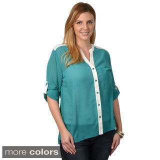 Tressa Designs Women's Contemporary Plus Two-tone Button-up Top