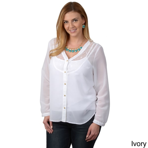 Tressa Designs Women's Plus Lace Detail Button-up Top
