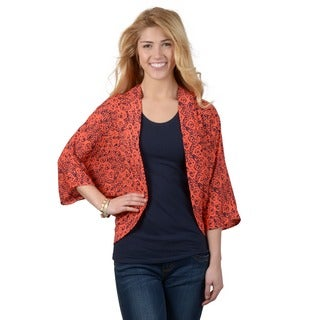 Journee Collection Women's Open Front Print Cardigan