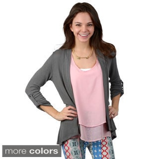 Journee Collection Women's Roll-up Sleeve Open Front Cardigan