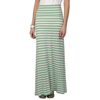 Journee Collection Women's Striped Fold-over Maxi Skirt