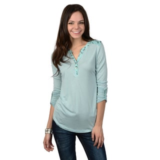 Hailey Jeans Co. Junior's Button Detail Roll-up Sleeve Top