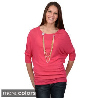 Journee Collection Women's Dolman Sleeve Scoop Neck Top