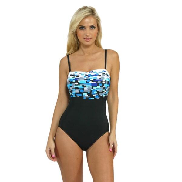 Miraclesuit 'Avanti' Blue Bandeau One-piece Swimsuit