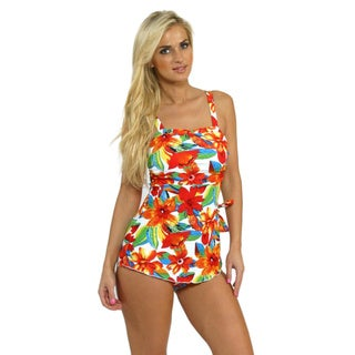 Island Pearl Women's White Tropical Sarong One-piece Swimsuit