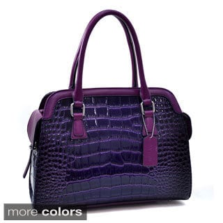 Dasein Tall Patent Croc-embossed Satchel