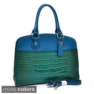 Dasein Two-tone Patent Croc-embossed Satchel