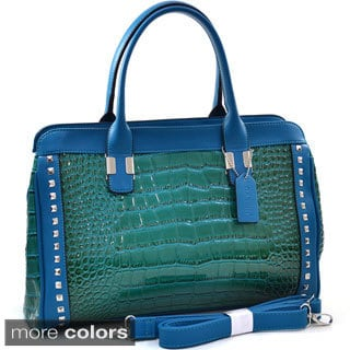 Dasein Pyramid Studded Patent Croc-embossed Satchel