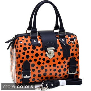 Dasein Retro Glossy Polka-dot Barrel Satchel