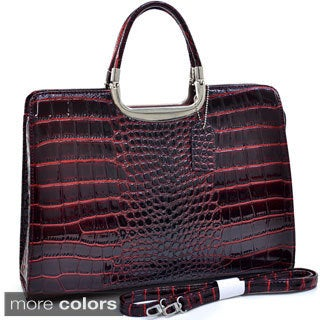 Dasein Patent Croc-embossed Fashion Briefcase