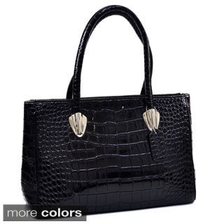 Dasein Sleek Patent Croc-embossed Shoulder Bag