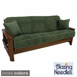 Blazing Needles Solid Chenille Rope-corded 8 to 9-inch Futon Cover Set with Two 18-inch Corded Throw Pillows