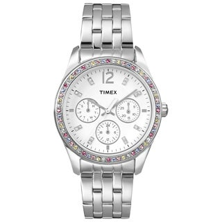 Timex Women's T2P386 Crystal Multi-Function Stainless Steel Bracelet Watch