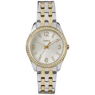 Timex Women's Crystal Accent Two-tone Stainless Steel Bracelet Watch