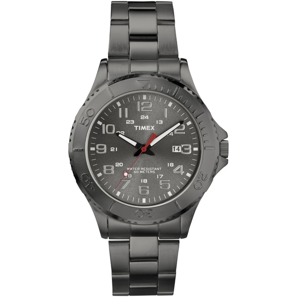 Timex Men's Gunmetal Grey Stainless Steel Bracelet Watch