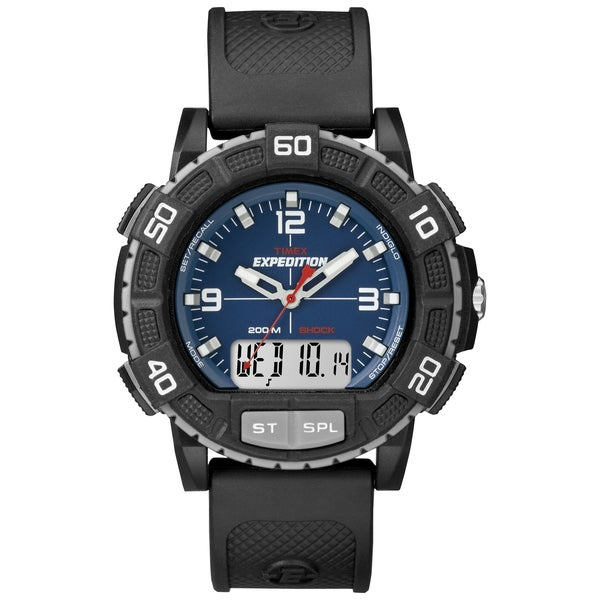 Timex Men's Expedition Double Shock Blue/ Black Resin Strap Watch