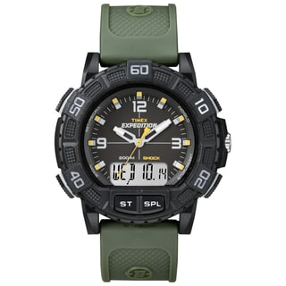 Timex Men's Expedition Double Shock Black/ Green Resin Strap Watch