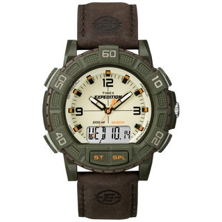 Timex Men's Double Shock Green/ Brown Leather Strap Watch