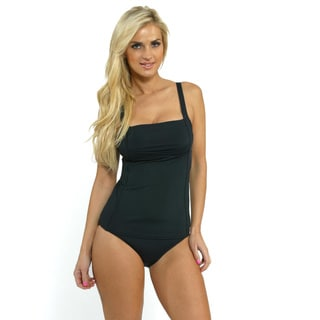 Calvin Klein Women's Black Pleated Tankini Top with High Waist Bottoms