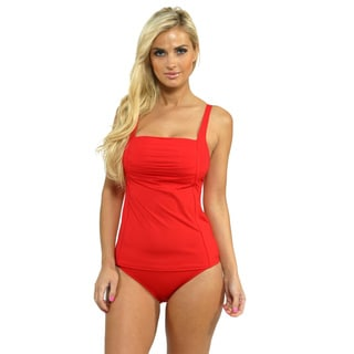 Calvin Klein Women's Firey Red Pleated Tankini Top with High Waist Full Bottoms
