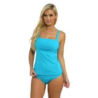 Calvin Klein Women's Bluebird Pleated Tankini Top with High Waist Full Bottoms