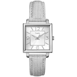 Timex Women's Rectangle White Metallic Leather Strap Watch