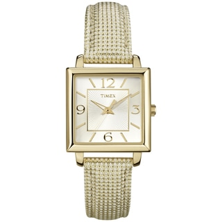 Timex Women's Rectangle Goldtone Metallic Leather Strap Watch