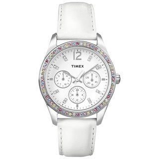 Timex Women's Crystal Multi-function White Leather Strap Watch