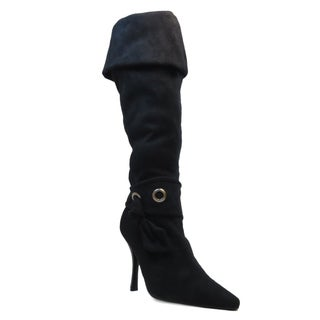 Blue Women's 'Parda' Black Suede Fold-over Pointed Toe Boots