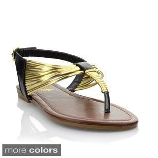 Anna Women's ;Lynk-11' Metallic Trim T-strap Flip Flop Sandals