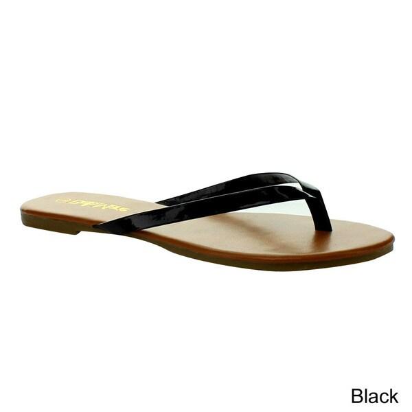Anna Women's 'Cherry-102' Glossy Flip Flop Sandals