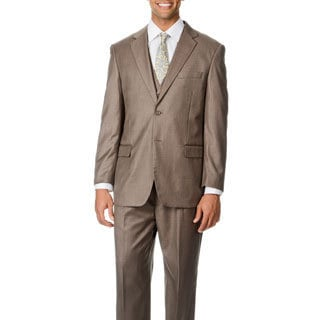Caravelli Italy Men's 'Superior 150' Light Brown 3-piece Vested Suit