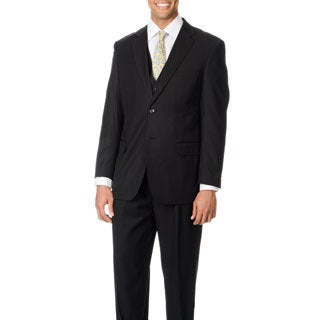 Caravelli Italy Men's 'Superior 150' Black 3-piece Vested Suit