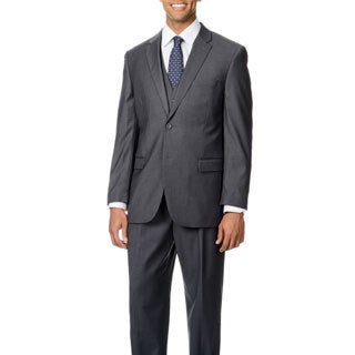 Caravelli Italy Men's 'Superior 150' Solid Grey 3-piece Vested Suit