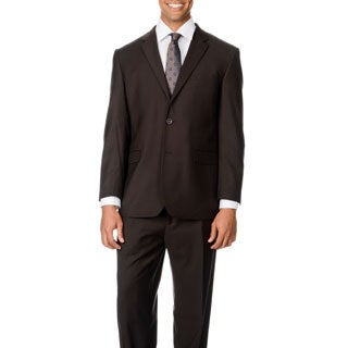 Caravelli Italy Men's Brown Shark Pattern Vested 2-button Suit