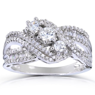 Annello 14k White Gold 3/4ct TDW Round and Baguette Diamond Ring (H-I, I1-I2)
