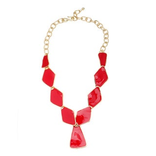 Kenneth Jay Lane Red Flat Plate Necklace
