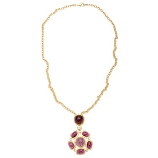 Kenneth Jay Lane Purple Resin and Crystal Pendant Necklace
