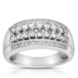 Eloquence 14k White Gold 1ct TDW Pave Multi Row Diamond Band (G-H, I1-I2)