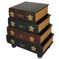 Classic 4-drawer Antiqued Faux Leather Book Series Chest Cabinet Accent Table